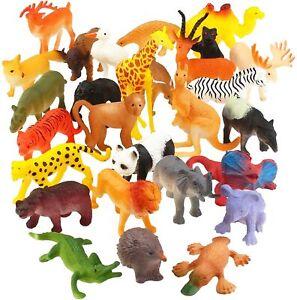 Animal Toy, 32 Pack Mini Wild Plastic Animals Models Toys Kit, Jungle Realistic