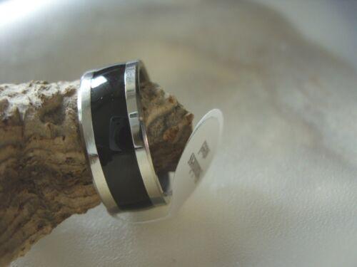 Unisex acero inoxidable dedo anillo anillo plata negro 18-23 x 7 mm