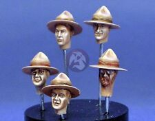 Resicast 1/35 5 New Zealand Heads with Lemon Squeezer Campaign Hats LRDG 355656