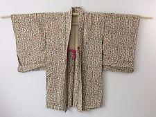 Authentic Japanese ivory white haori jacket for kimono, with himo, used (G1112)