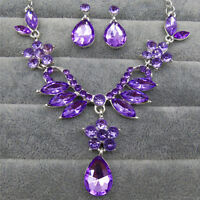 1 Set Bridal Rhinestone Crystal Drop Necklace Earring Plated Jewelry Set CPO