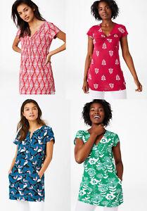White-Stuff-Short-Sleeve-Cotton-Green-Red-TUNIC-Blouse-Top-Shirt-8-10-12-14-16