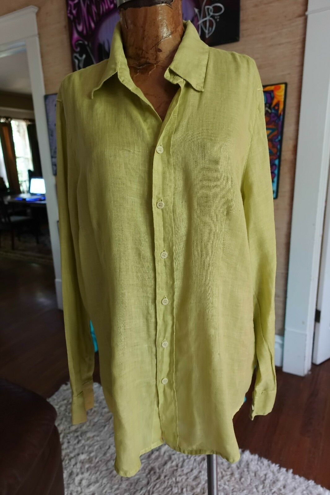 CP SHADES Größe L LINEN tunic button down tunic EUC citron lime Grün LUXE