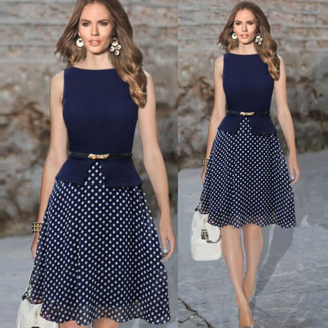 Fashion Women Summer Slim Chiffon Sleeveless Party Office OL Polka Dot Dress