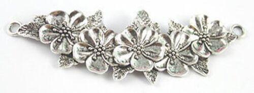 5PCS Tibetan silver flowers branch connector FC15577