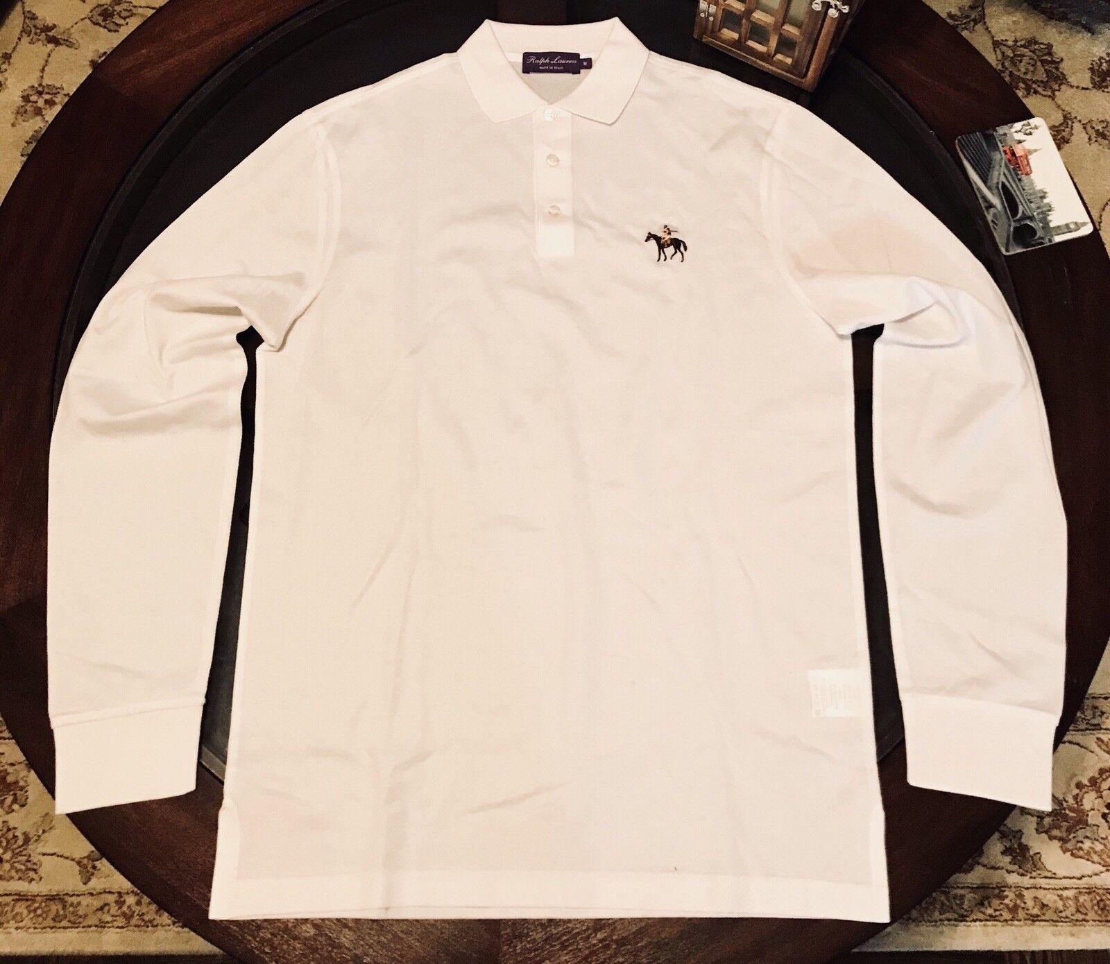 dfd1bd41 Ralph Lauren Purple Label Long Sleeve Polo Shirt WHITE Size Medium Made In