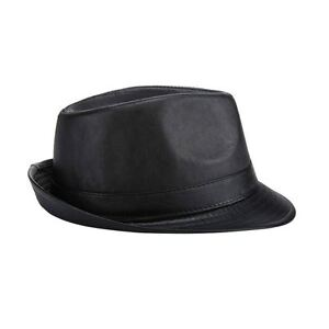 7c253455f15 Image is loading Fashion-Mens-Vintage-Panama-Fedora-Hat-Black-Leather-