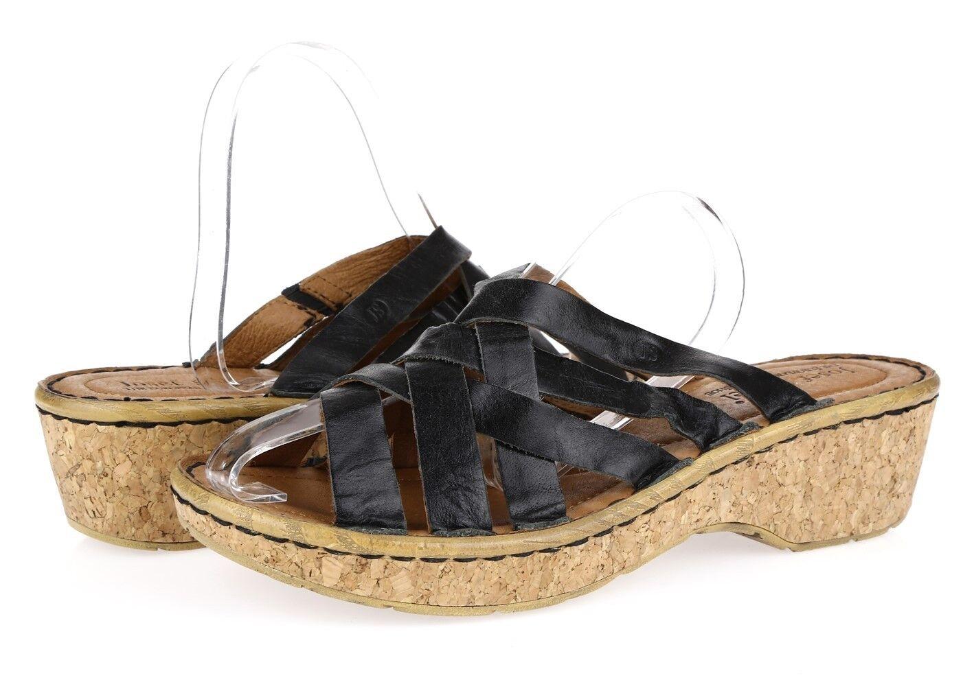 Women's JOSEF SEIBEL 228206 black strappy wedge sandals sz. 41