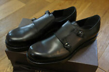 NEW GUCCI BLACK LEATHER DOUBLE MONK STRAP LOAFERS SHOES UK 6 RP £690