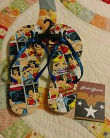 Dc Comics Wonder Woman Womens Size L (9-10) Flip Flop Sandals Blue With Tag