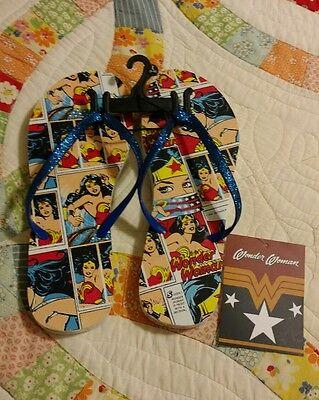 DC Comics Wonder Woman Womens Size  L (9-10) Flip Flop Sandals Blue New with Tag