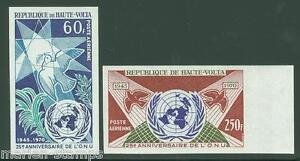 UPPER VOLTA 25th ANN UNITED NATIONS IMPERFORATED SET SC#C84/85 MINT NH