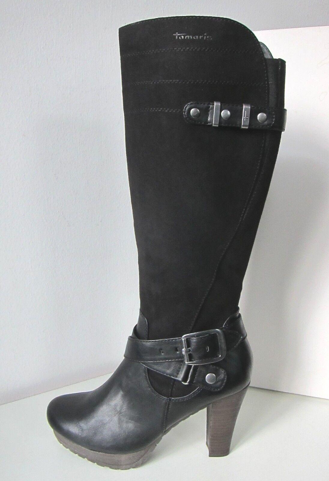 Tamaris Stiefel High Heel schwarz Gr. 41 Stiefel Immitat schwarz Material Mix Leder Immitat Stiefel ff9d66