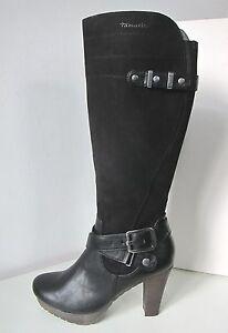 Details zu Tamaris Stiefel High Heel schwarz Gr. 41 Boots black Material Mix Leder Immitat