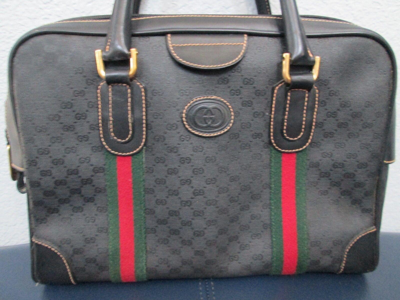 Authentic Vintage Gucci Black Classic Satchel Red… - image 2