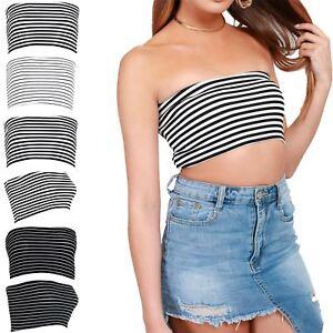 Womens-Horizontal-Stripes-Boobtube-Strapless-Ladies-Bandeau-Vest-Bra-Crop-Top