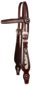 Showman Leather Bridle/Reins Set w/ Cowhide & Texas Longhorn Steer Conchos! NEW!