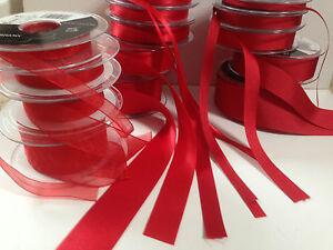 Berisfords-RED-15-amp-9325-Satin-Sheer-amp-Grosgrain-Ribbon-3mm-70mm-Christmas