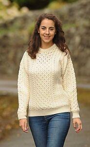 Mujer-Panal-Irlandes-Aran-Jersey-De-Irlanda-100-Lana-Pura-Sueter-Cuello-Redondo