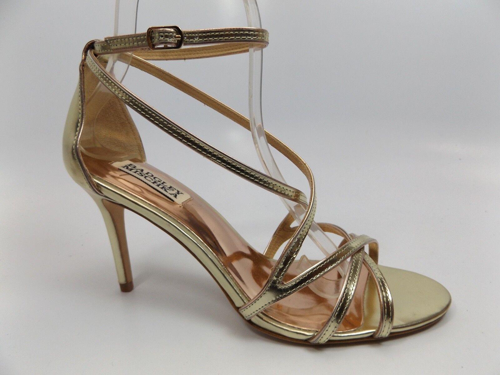 BADGLEY MISCHKA Womens Lillian Leather Open Toe, Platino, SZ 8.0 M NEW  D9675