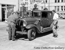 Antique Car at Crown Gas Station, Sturgeon Bay, WI - 1940 - Historic Photo Print
