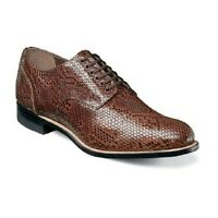Madison Stacy Adams Mens Shoes Snake Leather Print Oxford Cognac 00079-221