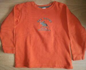 Jungen-Pullover-orange-Elch-Groesse-122