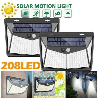 208LED Solar Power PIR Motion Sensor Wall Light Outdoor Garden Lamp Waterproof !