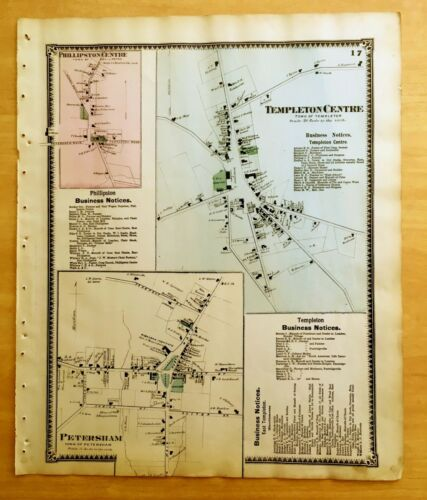 Original 1870 Map TEMPLETON CENTRE Petersham + MA Massachusetts BEERS Antique
