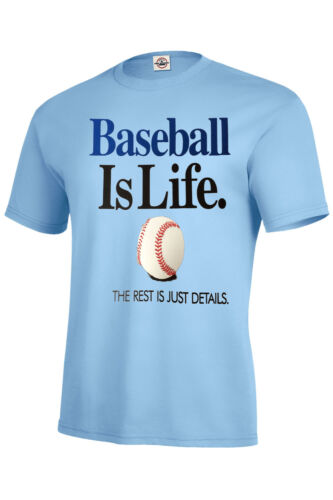 BASEBALL IS LIFE T SHIRT ASSORTED COLORS KIDS S6-8 TO XL18-20 /& ADULT S TO 5XL