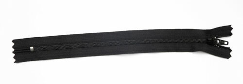 Cremallera Talla 3 Paquete De 10 YKK Calidad Negro Nailon 7.5 Pulgadas Nylon Extremo Cerrado Cremallera