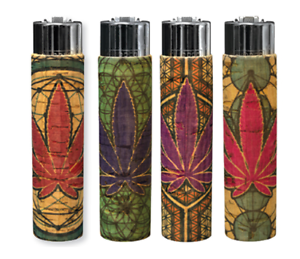 4-Ct-CLIPPER-Flint-Lighters-Refillable-LEAVE-WEED-LEAF-CORK-COVER-HAND-SEWN