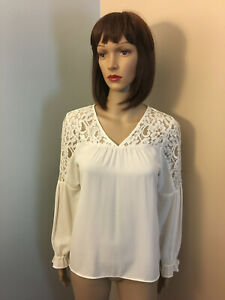 EXPRESS-Sz-XS-Ivory-Lace-Yokes-BLOUSE-SHIRT-TOP-Long-Sleeves-Poet-Sleeves-V-Neck