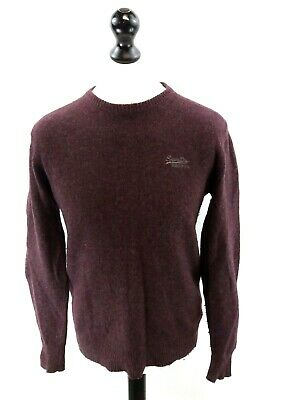Gelernt Superdry Mens Jumper Sweater S Small Purple Grey Lambswool & Nylon