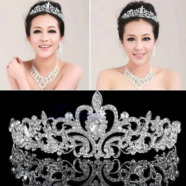 Princess Bridal Stunning Austrian Crystal Wedding Hair Tiara Crown Veil Headband