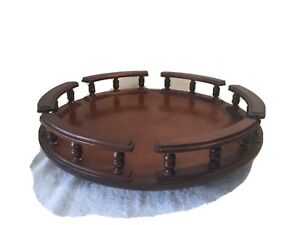 Vintage-1960-s-18-Mahogany-Finish-Wood-Lazy-Susan-with-Spindals-and-Rails