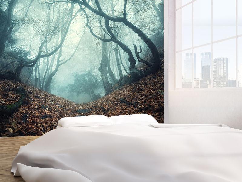 Halme Through A Mysterious Dunkel Alt Wald in Nebel Tapeten Wandbild (40618754)