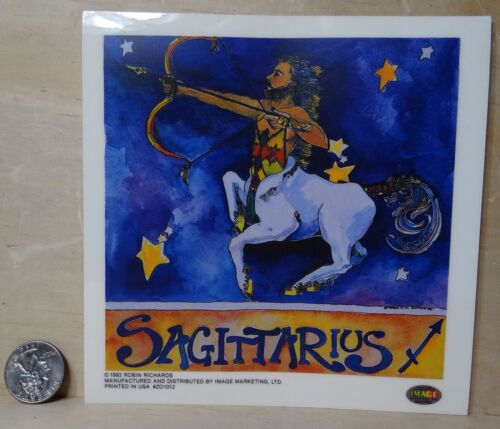 SAGITTARIUS ZODIAC SIGN BY ROBIN RICHARDS NYLON STICKER PEEL OFF /& STICK VINTAGE