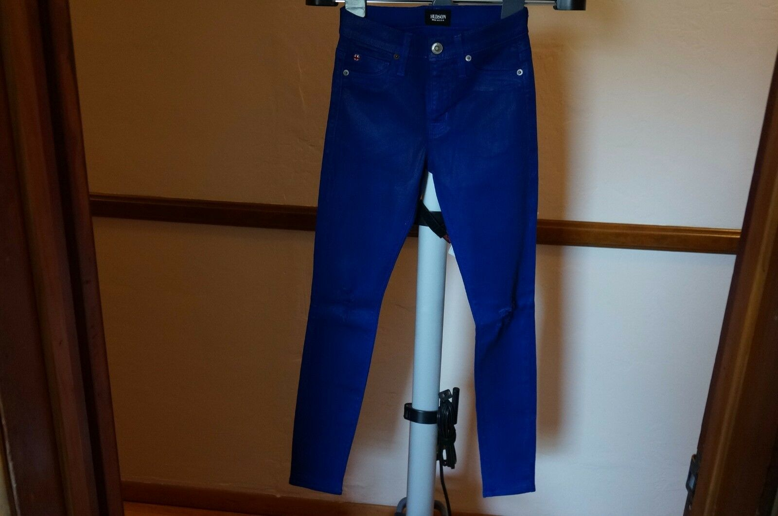 NEW HUDSON NICO MIDRISE SUPER SKINNY blueE MY MIND stretchy corduroy jeans 25 x29