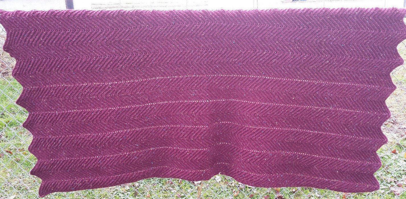 Crocheted by Hand Afghan Blanket  Cover Chevron Pattern Burgundy 53  X 95