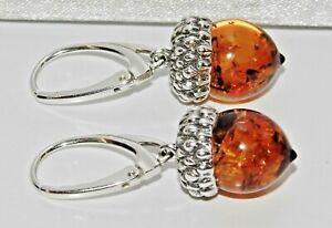 Sterling-Silver-925-REAL-AMBER-Acorn-Drop-Ladies-Earrings-NEW