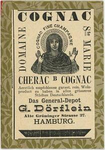 ANTIQUE-GERMAN-ACEO-SIZE-ST-MARIE-COGNAC-HAMBURG-GERMANY-ADVERTISEMENT-OLD-PRINT