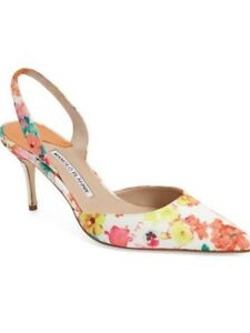 3422431115 NEW 9 / 39 Manolo Blahnik Carolyn Floral Pointed Toe Slingback ...