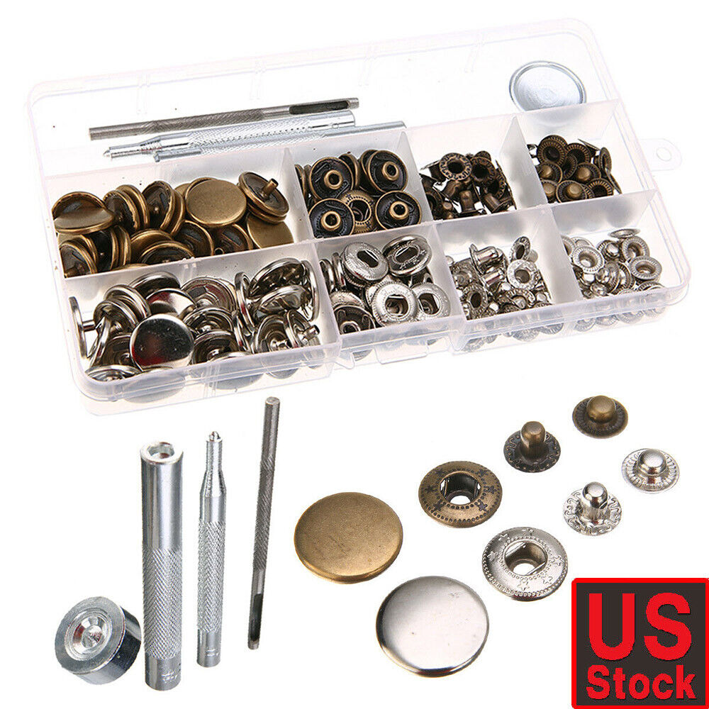 12.5mm Snap Fasteners Popper Press Stud Button Clothing Fixing Tool Kit 100Sets