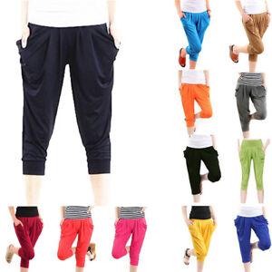 Pantaloni in corte a da in donna maniche seta donna da con elastico vita rwrxOWn