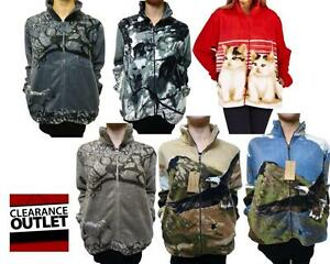 Ladies-Printed-Fleece-Warm-Jacket-Coat-Husky-Dogs-Horses-Eagle-Cats-Stag-Wolf