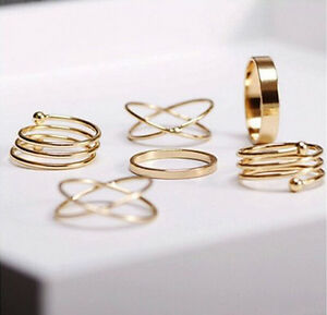 Punk-Charm-6Pcs-Set-Midi-Above-Knuckle-Ring-Band-Gold-Plated-Tip-Finger-Stacking