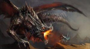 Quadro legno 59 x 32 cm stampa in alta qualità fantasy drago guerriero epico