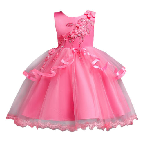 Girls Kids Princess Formal Pageant Wedding Birthday Party Prom Dress Flower Bow