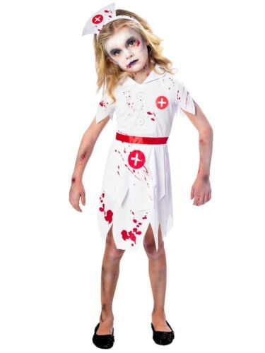 Girls Scary Bloody Zombie Nurse Halloween Fancy Dress Costume Outfit 512yrs
